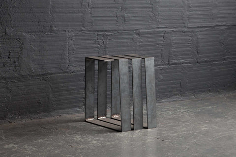 SCULPTURAL STEEL SPIRAL TABLE AND BENCH