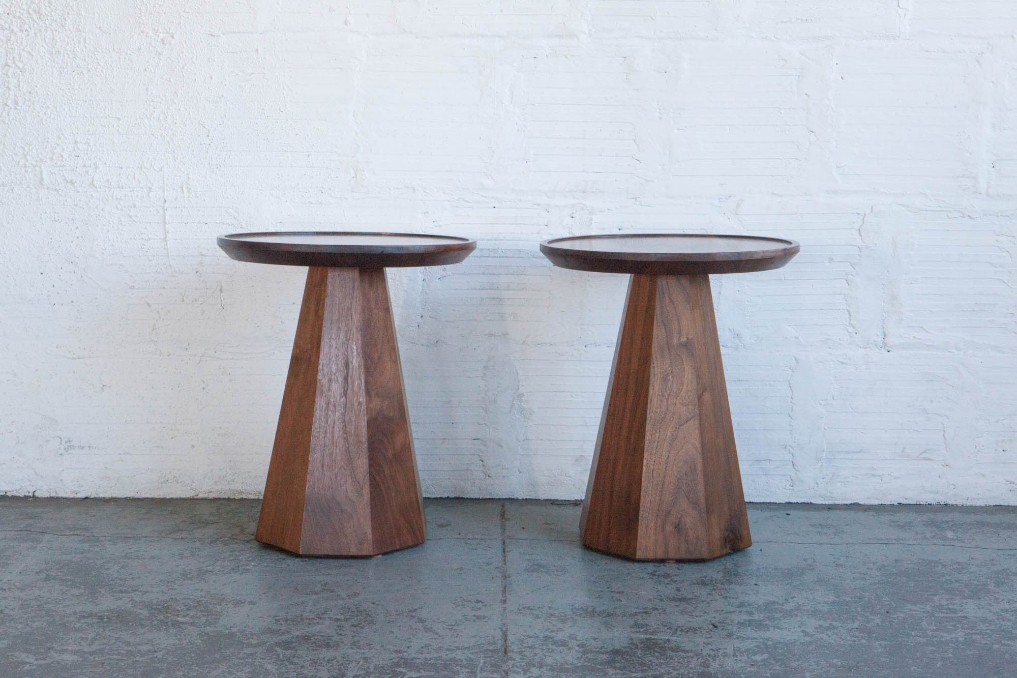 pedestal side tables by oliver percival