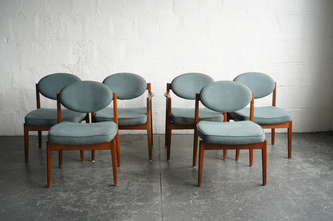 Mid-Century Oval-Back Dining Chairs (Set of Six)