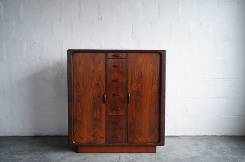 Dyrlund Tambour Door Sculptural Rosewood Chest