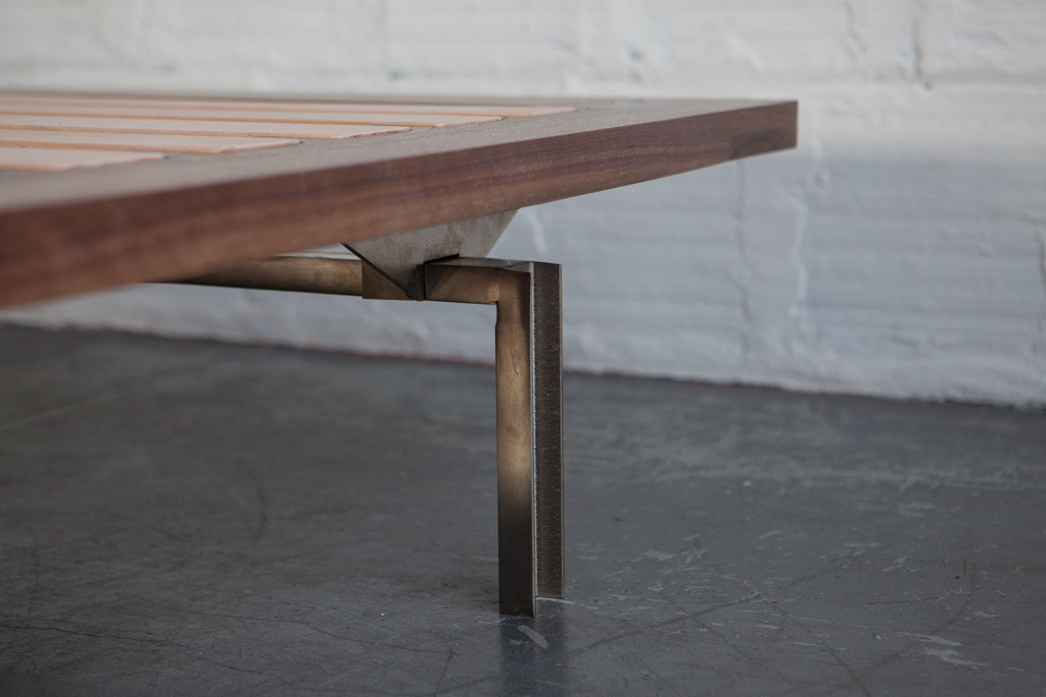 the good mod custom bed frame walnut leg detail