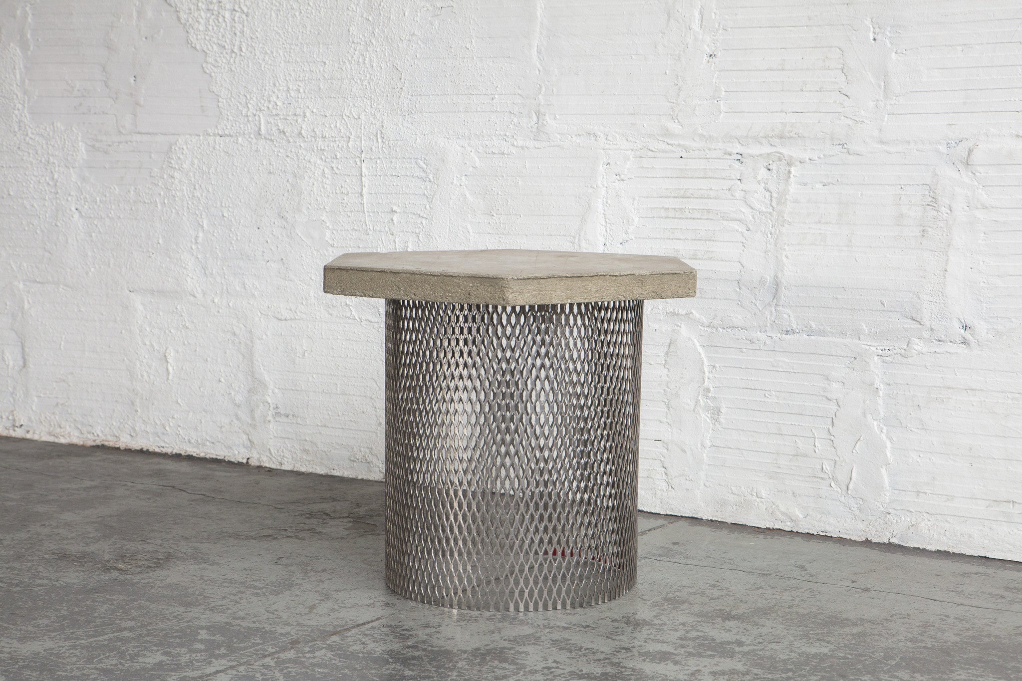 Cement side table Pedestal The Good Mod Concrete Wire Concept Side Table Prototype The Good Mod