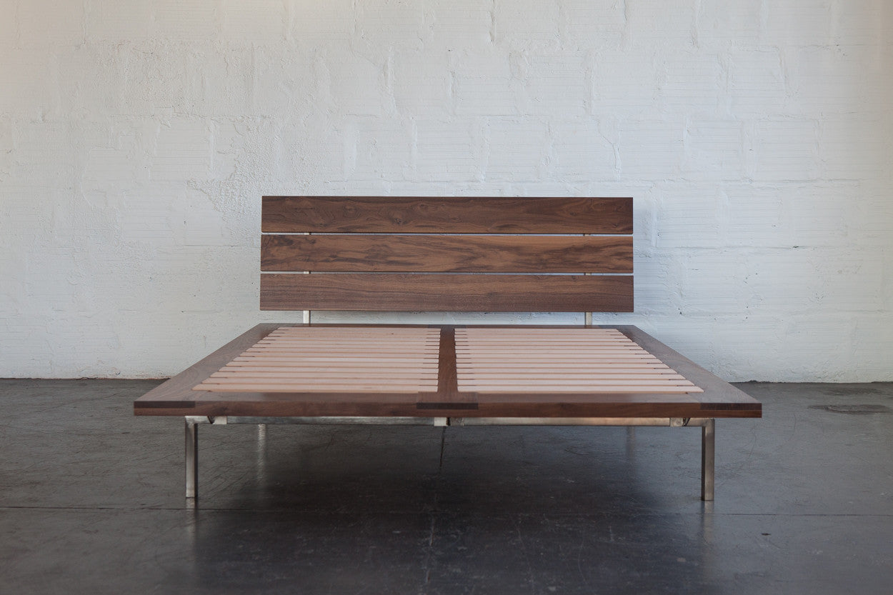 the good mod custom bed frame walnut front