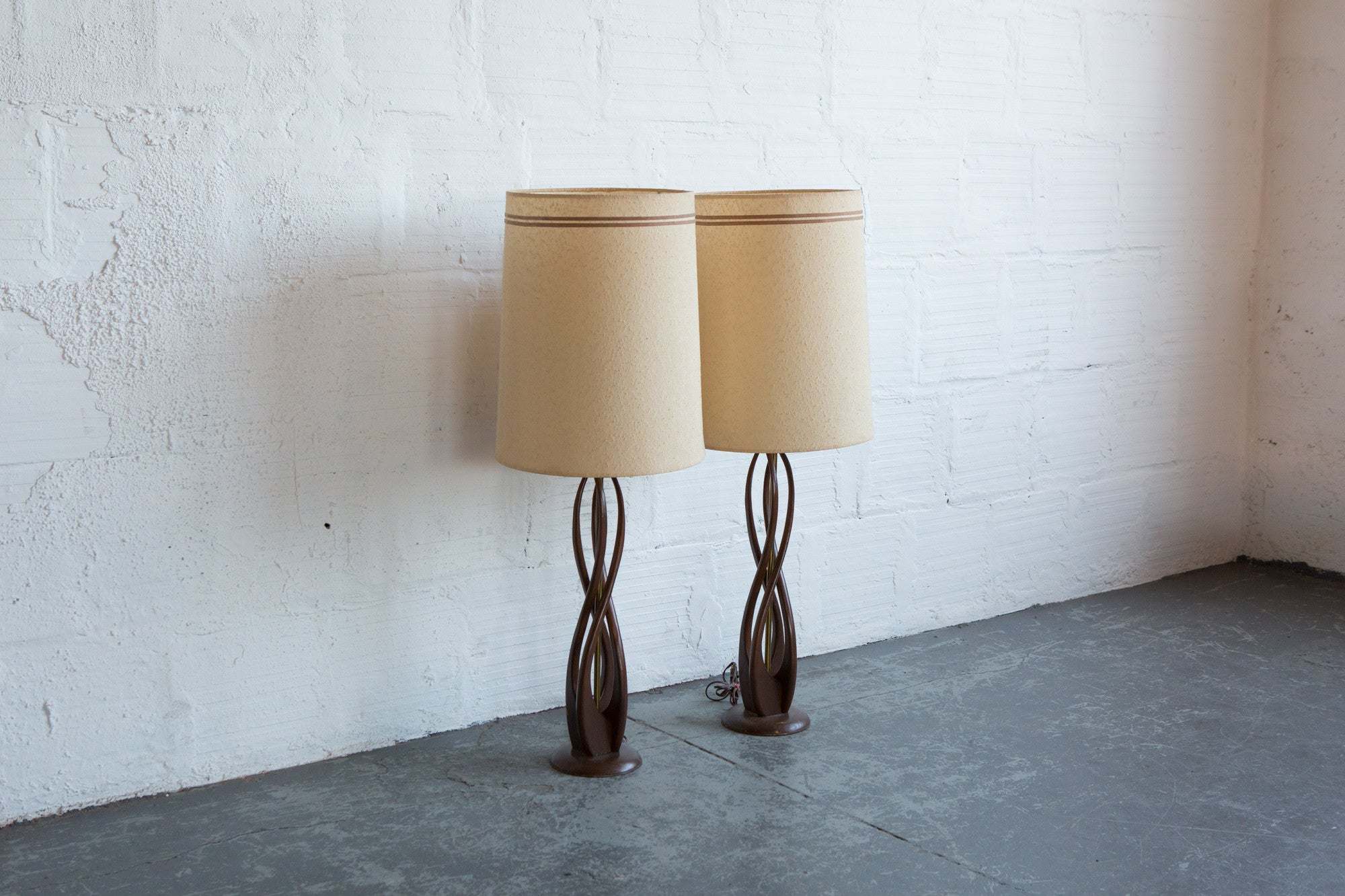 Mcm carved wood table lamp set of 2 the good mod mcm carved wood table lamp set of 2 geotapseo Choice Image