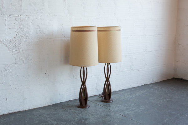 Mcm Carved Wood Table Lamp Set Of 2 The Good Mod