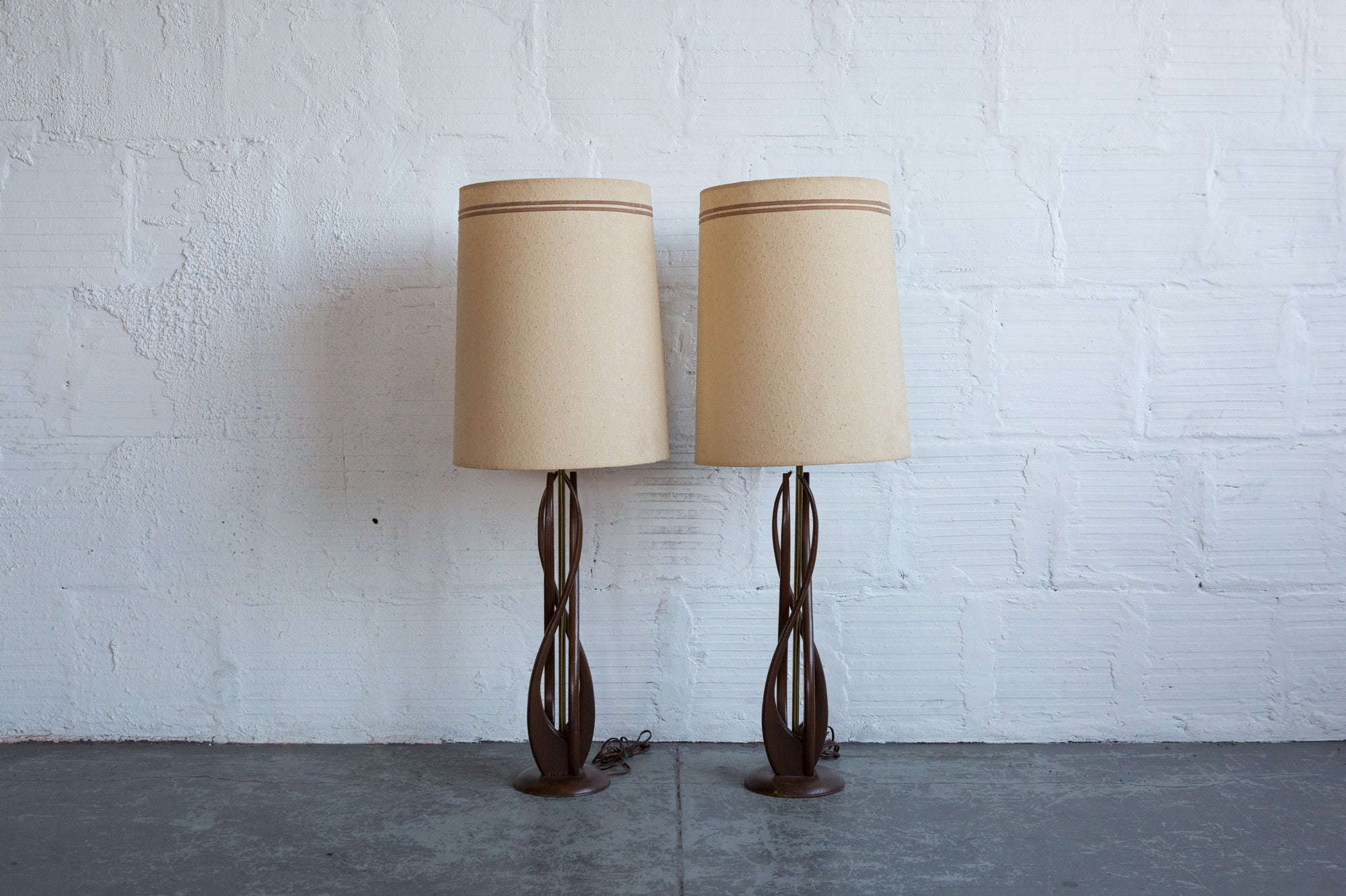 MCM Carved Wood Table Lamp (set Of 2)