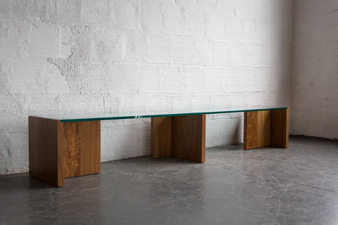 Glass and Anigre Wood Base Bench