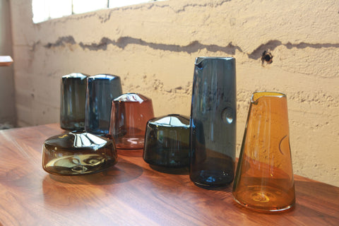 Matthew Abadi Transparent Gem Tone Dimple Pitchers