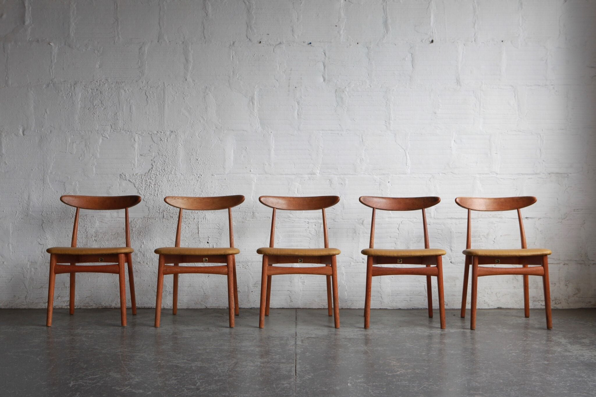 Japanese Modern Oak Dining Chairs (Set of Five)