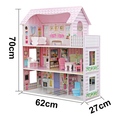 Image of Luxury Miniature Wooden Barbie Dollhouse with Furniture Play Set