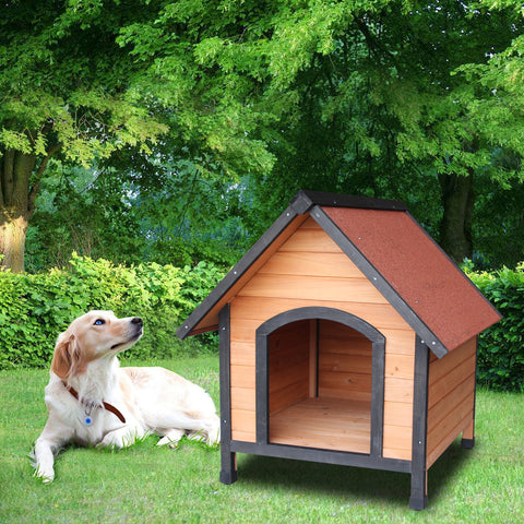 Image of Wooden Dog House Outdoor Shelter