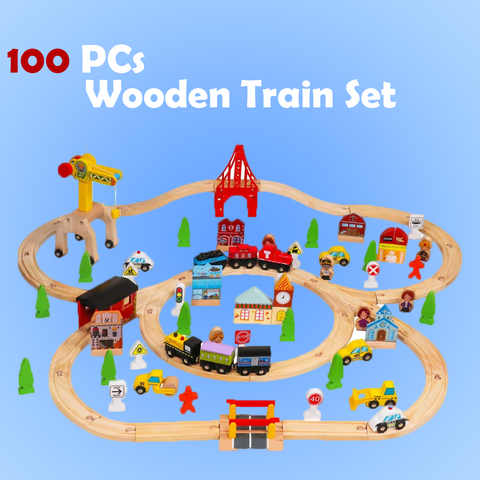 Toyship's 100 Piece Wooden Train Set