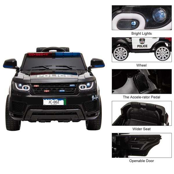 The Patroller - 12V Kids Police Ride On Car Electric Cars 2.4G Remote Control, LED Flashing Light, Music & Horn.