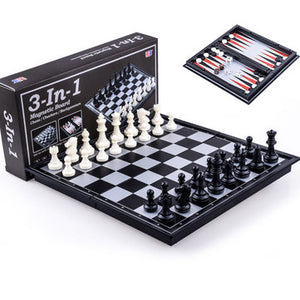 Chess Magnetic Backgammon Checkers Set Foldable Board Game 3-in-1 Road International Chess Folding Chess Portable Board Game