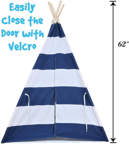 Kids Teepee Tent for Kids, No Toxic Chemicals Added, w/ Carrying Case, Navy Children's Teepee Tent for Boys & Girls, Large Enough Tipi Tents for Adults Toddler Baby Boy Adult Children, Reading Nook