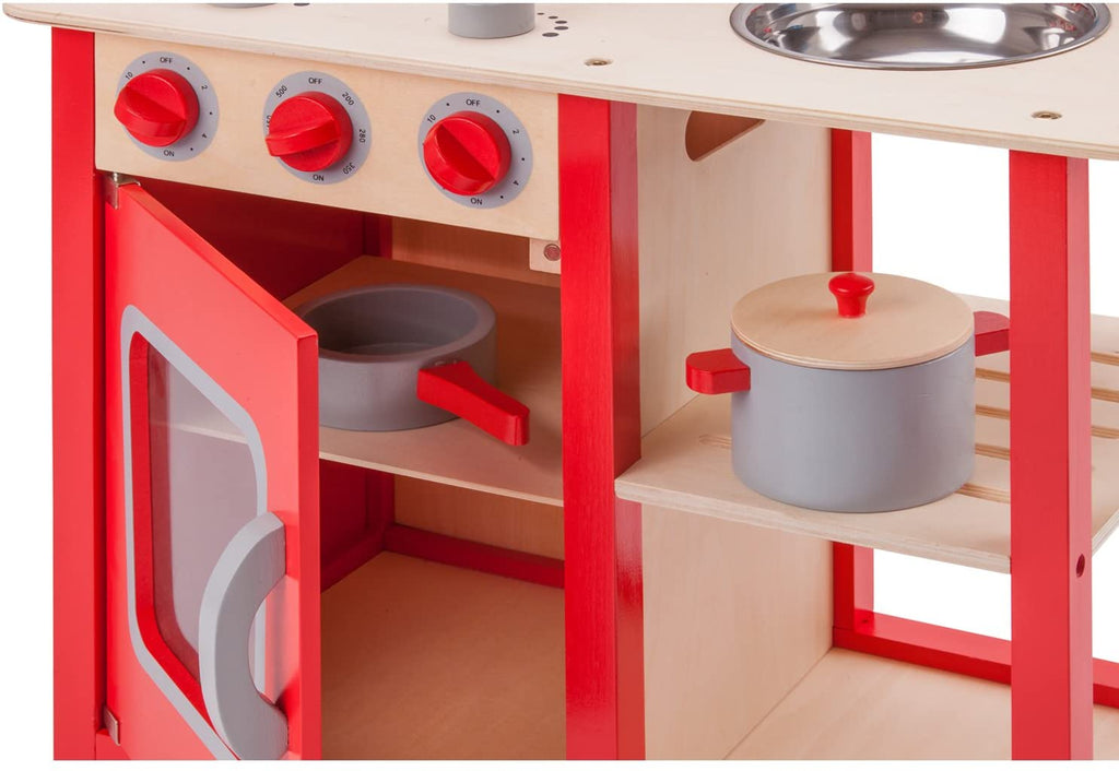 Red Wooden Pretend Play Toy Kitchen for Kids with Role Play Bon Appetit Included Accesoires