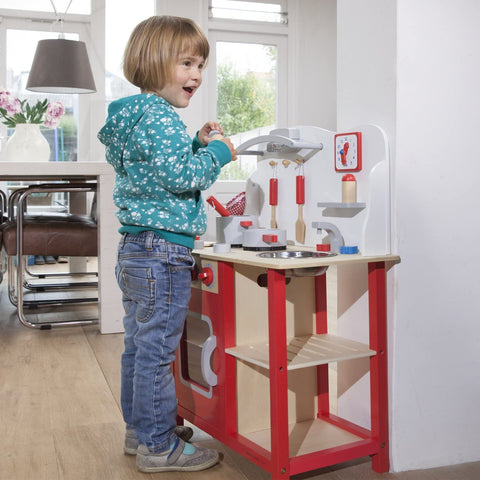 Image of Red Wooden Pretend Play Toy Kitchen for Kids with Role Play Bon Appetit Included Accesoires