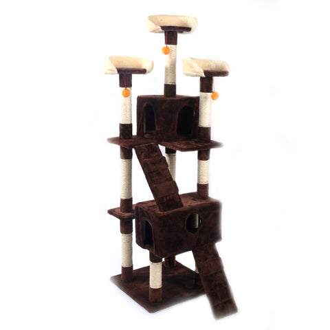 "66"" Sisal Hemp Cat Tree Brown Condo"