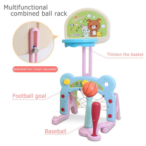 6 In 1 Kids Indoor And Outdoor Slide Swing And Basketball Football Baseball Set