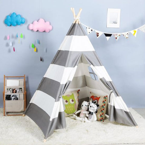 Teepee Tent for Kids - Grey Stripes