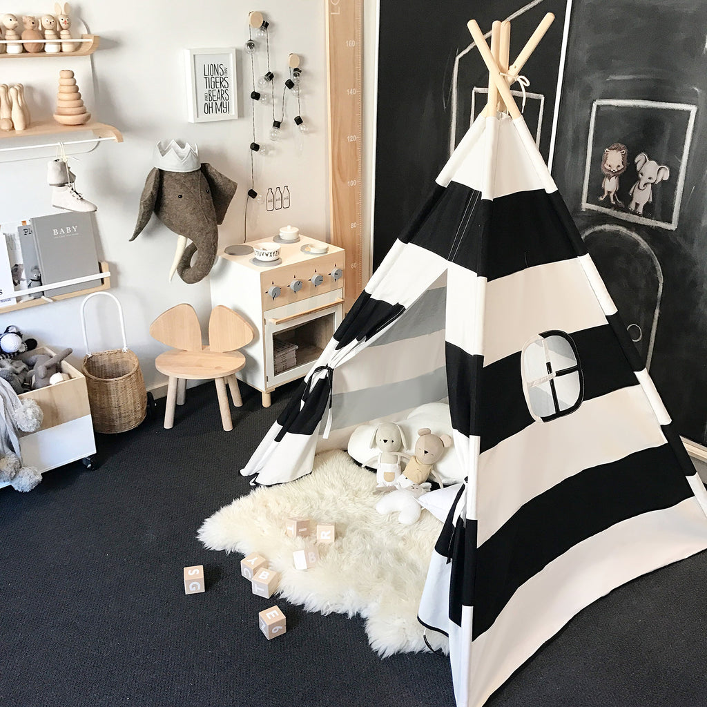 Teepee Tents for Kids - Black and White Stripes