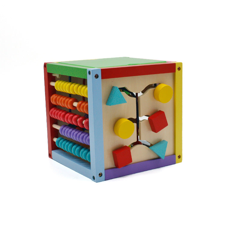 8 x 8 Inch Wooden Learning Bead Maze Cube 5 in 1 Activity Center Educational Toy Multicolor
