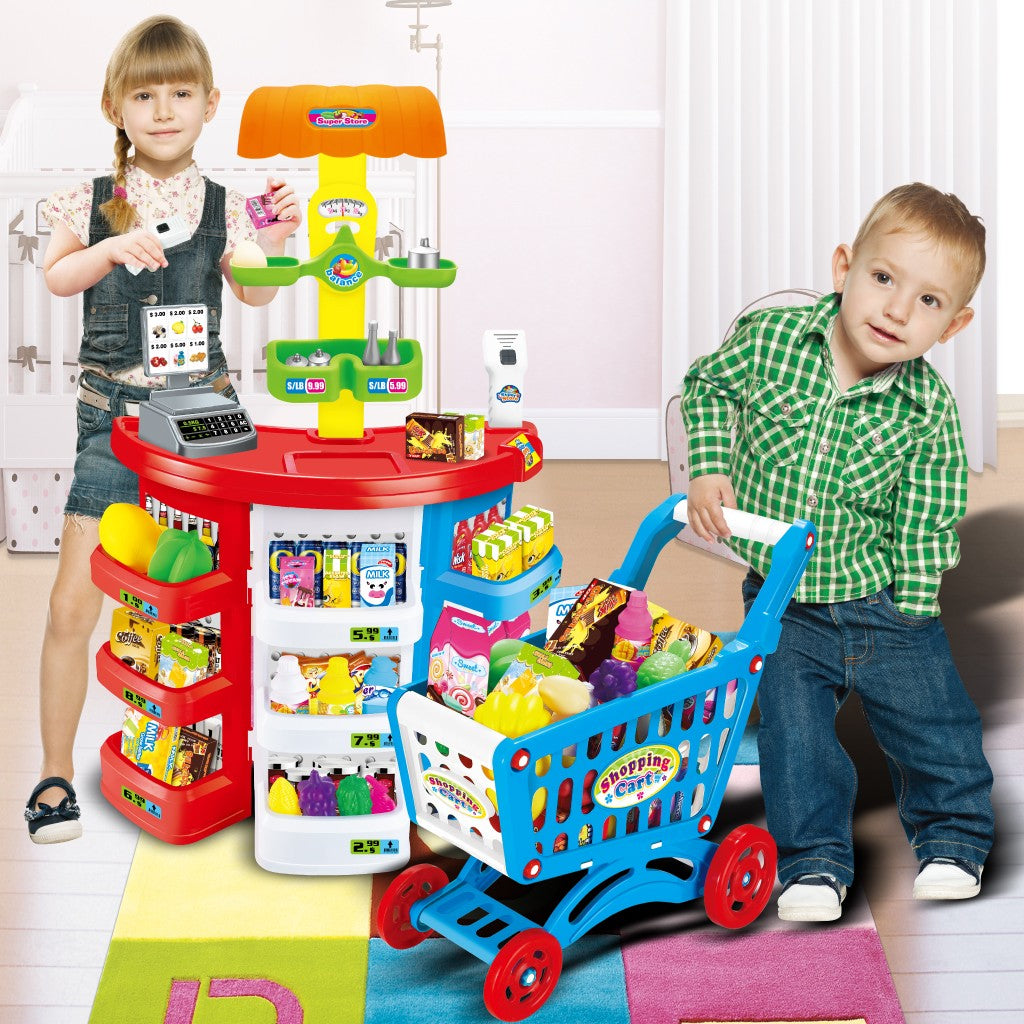 hopping Grocery Play Store For Kids With Shopping Cart And Scanner
