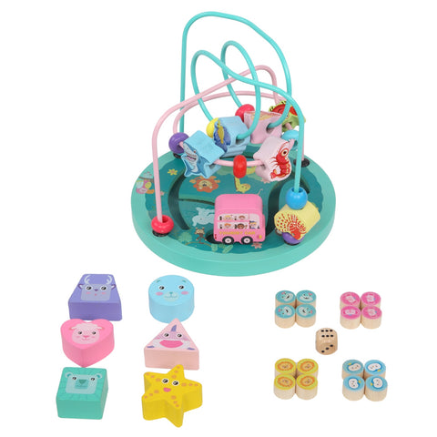 Image of Wooden Toys Eight-In-One Function Winding Beads/Side Bead/Sea World Color