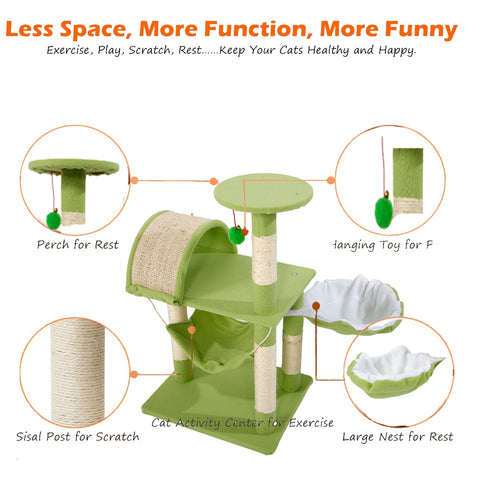 "Image of 32"" Stable Sisal Cat Climb Tower Condo"