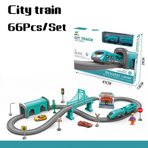 66/92 Pcs Multi-style DIY Assembly Track Train Increase Parent-child Interaction Toy Set with Sound Effect for Kids Gift