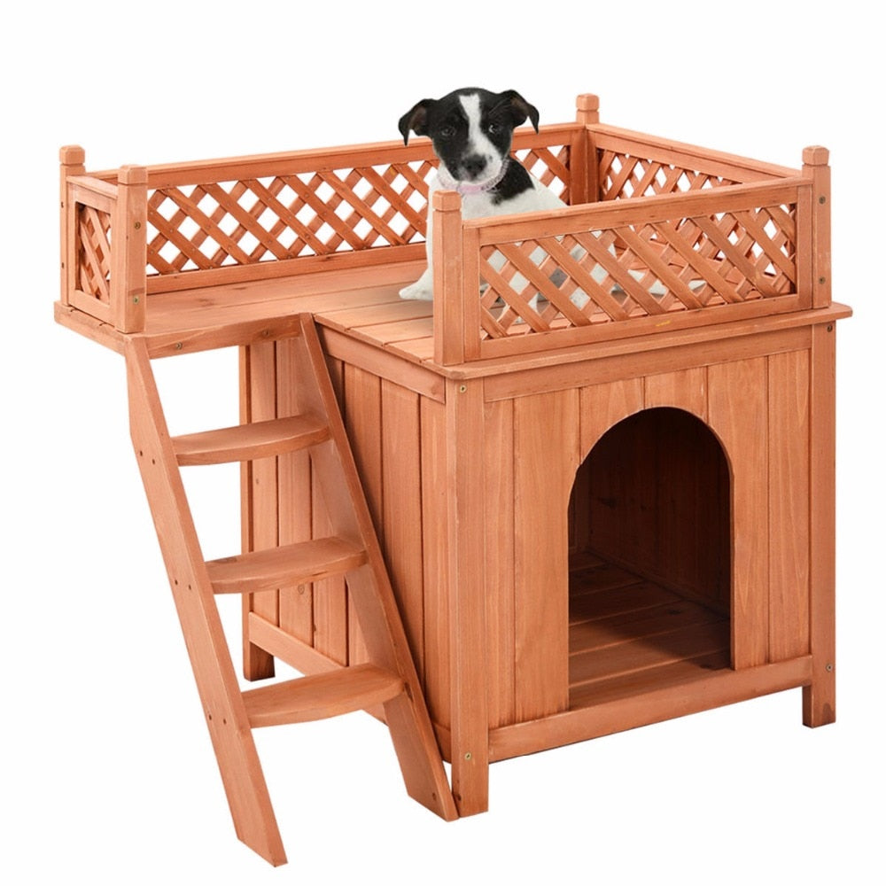 Wooden Dog House Wood Room In/Outdoor Raised Roof Balcony Bed Shelter