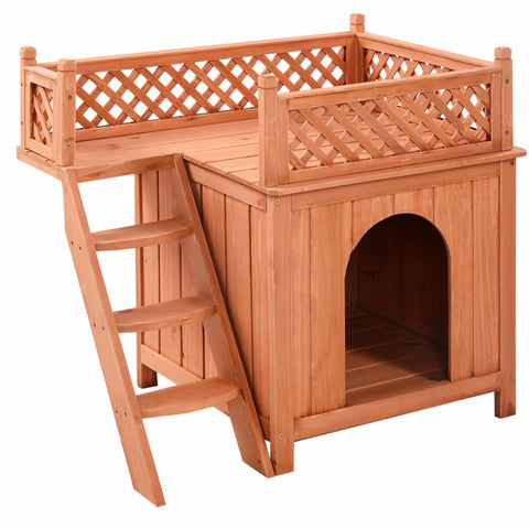 Image of Wooden Dog House Wood Room In/Outdoor Raised Roof Balcony Bed Shelter