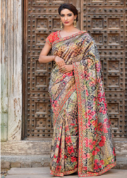 black printed designer party wear saree
