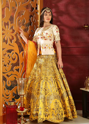 White and Yellow Partywear lehenga