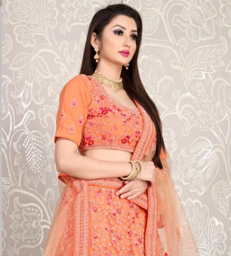 Orange Floral Embroidered Net Lehenga Choli