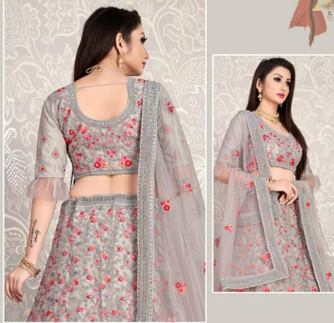 Grey Floral Embroidered Frilled Sleeved Lehenga Choli