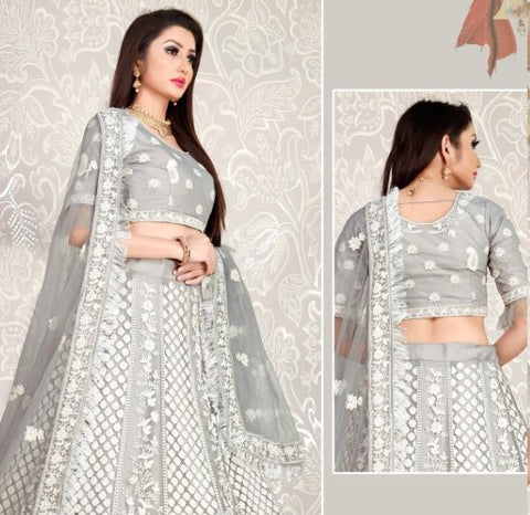 GRAY EMBROIDERED LEHENGA CHOLI