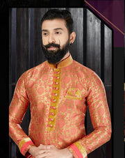 Rust Jacquard Hand Embroidered Kurta Pajama