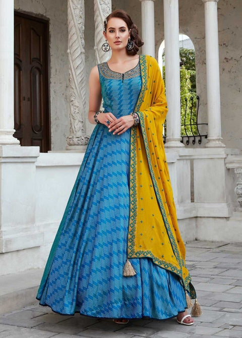 Sky Blue Heavy Pure Killer Print Embroidery Salwar Suit
