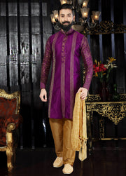 Purple Printed Hand Embroidered Kurta Pajama