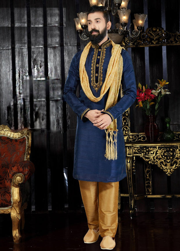 Navy Blue Printed Hand Embroidered Kurta Pajama