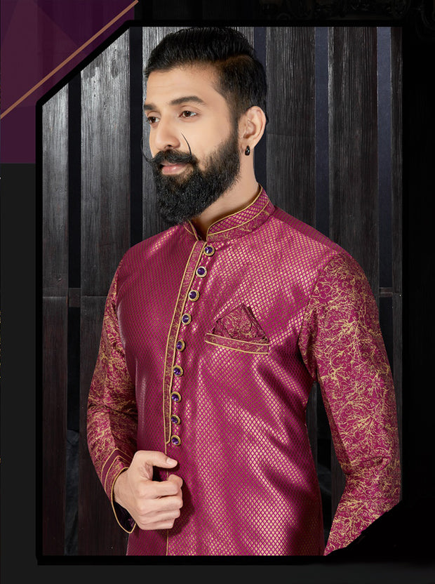 Wine Jacquard Hand Embroidered Kurta Pajama