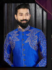 Royal Blue Dupion Hand Embroidered Kurta Pajama