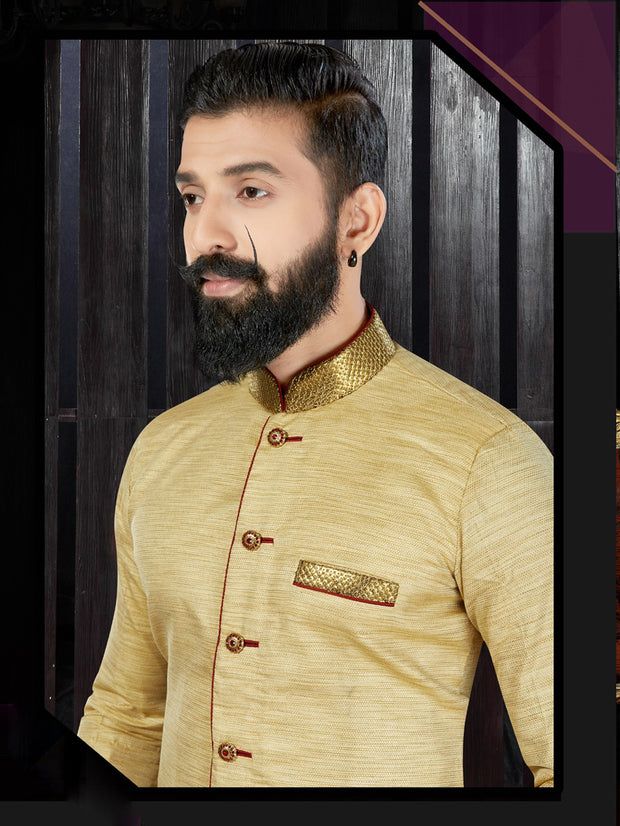 Gold & Maroon Giccha Silk Hand Embroidered Kurta Pajama