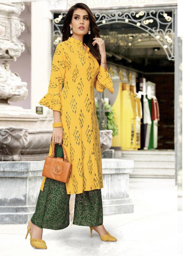 yellow and green khoyal printed kurti palazzo suit