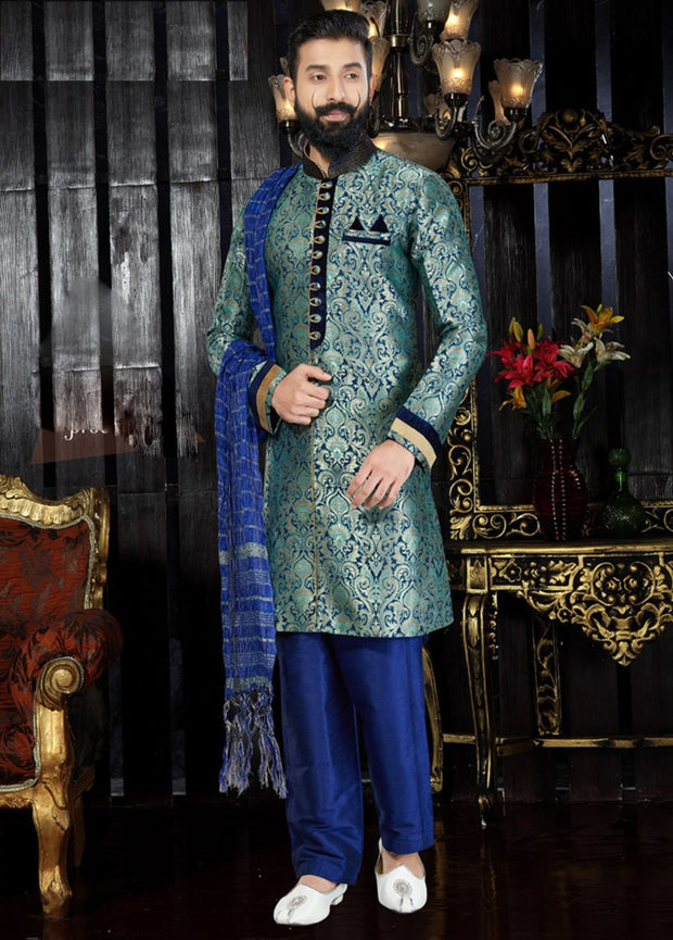 Multicolored Jacquard Hand Embroidered Kurta Pajama