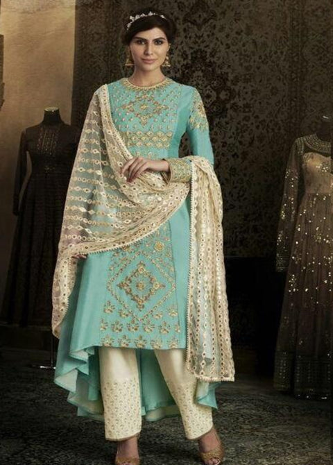 SKY BLUE SILK TROUSER STYLE ANARKALI SUIT