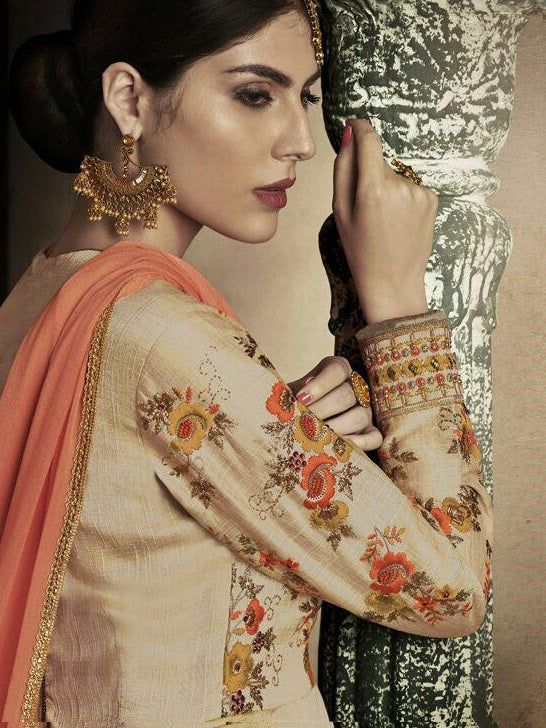 BEIGE SILK LONG ANARKALI TROUSER STYLE SUIT