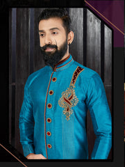 Sky Blue & Maroon Hand Embroidered Kurta Pajama