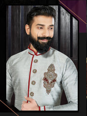 Grey Hand Embroidered Kurta Pajama